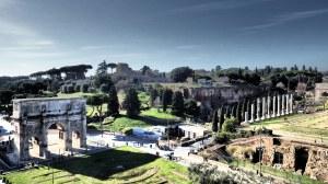 El Arco de Constantino y el Foro Romano desde el tercer piso...es decir, nuestra siguiente parada...