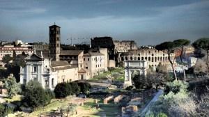 La entrada al Foro y el Coliseo desde los Jardines del Palatino
